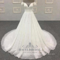 V-neck long tail 2018 Off shoulder for girls bridal gowns wedding dress