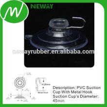Convenient 45mm Metal Hook Suction Cup PVC