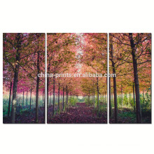 Triptych Maple Tree Canvas Wall Art for Living Room/Lavender Forest Canvas Print/Autumn Landscape Wall Picture