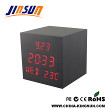 Square Wood Led Calendar Alarm Clock