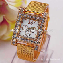3 dial decoration square dial diamond gold color table watch