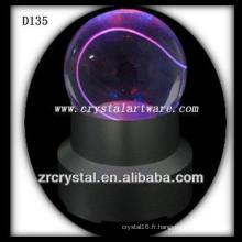 Boule de cristal gravée au laser K9 avec base LED coloré