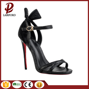 Sweat function well leather sandals with bowknot