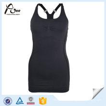 Women Blank Tops Black Wholesale Gym Stringer Singlet