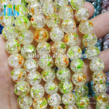 12mm multicolore craquelé cristal de roche perles rondes en vrac de quartz