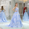 New Fashion Blue Flower Deep V Neck Ball Gown Dress Evening