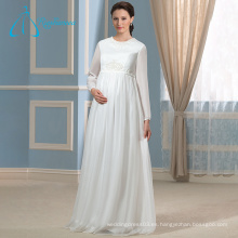 Satén Perlas Sashs Chiffon Madre más tamaño de los vestidos de novia