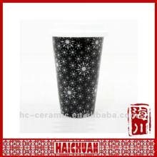 Taza de café cerámica de 11 onzas tapa de silicio, doble taza de café de pared