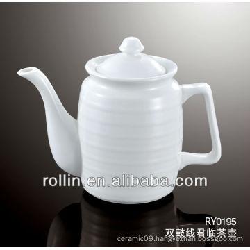 600ml Guangzhou hotel and restaurant supplier white elegant design double lines decoration crockery coffee pot wholesale