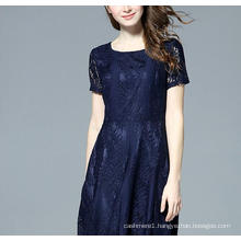 Summer Fashion Lace Round-Neck Short Sleeve Dress
