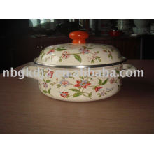 porcelain enamel cookware with metal lid