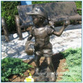 Garden Life Size Bronze Golf Girl Statue with Ponytail