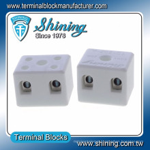 TC-202-A 5 Hole M3 Screw 2 Pole 600V 20A Porcelain Connector Block