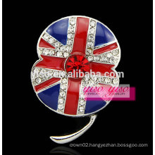 famous flag flower crystal brooch
