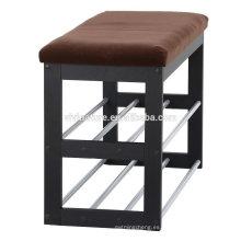 estante de zapatos de madera de alta calidad, banco del estante del zapato del metal para la sala de estar