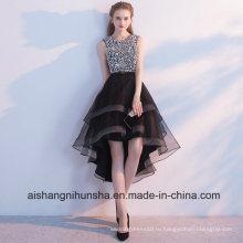 Черный высокий низкий блестками жемчуг со стразами платье выпускного вечера