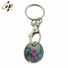 Promotional round metal silver trolley token key chains with print logo