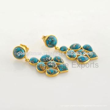 Hermosa joyas de plata de ley 925 de plata esterlina de la piedra preciosa de la turquesa Fabricante