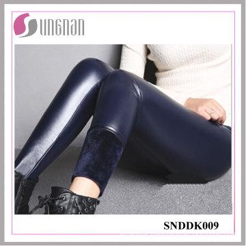 2015 Winter High Waist Thickening PU Leather Pants Fleece Leggings