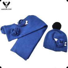 Lady Fashion Crochet Flower Scarf Hat 2PCS Winter Warm Set