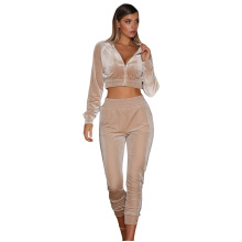 Hot Selling Women 2pcs Plain Color Velvet Tracksuit