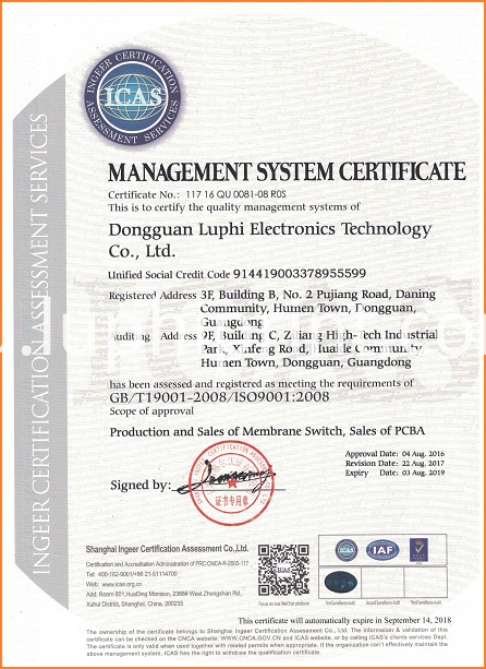LUPHITOUCH ISO9001 Certificate