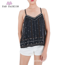 Party Black Sequin Tank Tops