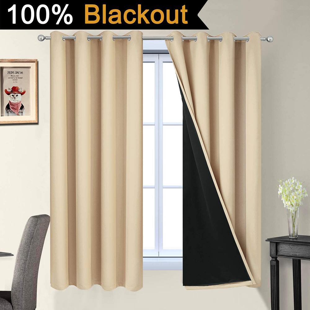 52-63 Beige Blackout Curtains