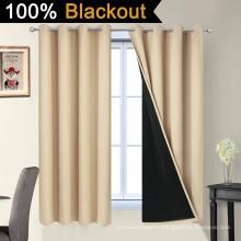Beige 100% Blackout Curtains 63 Inch Long