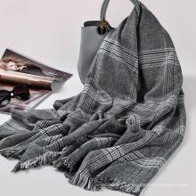 Las mujeres de la moda de alta calidad bufanda 100% de la borla del invierno de acrílico 205x90cm tartan la bufanda de la tela escocesa