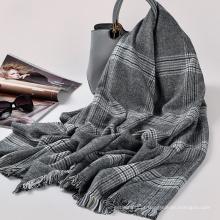 Moda de alta qualidade mulheres 100% acrílico inverno borla cachecol 205x90 cm lenço xadrez tartan