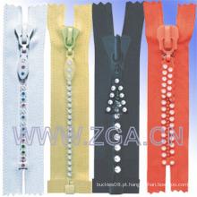 Rhinestone Zipper Vestuário Acessórios