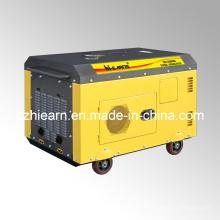 Conjunto de generador diesel de dos cilindros refrigerados por aire de color amarillo (DG15000SE)