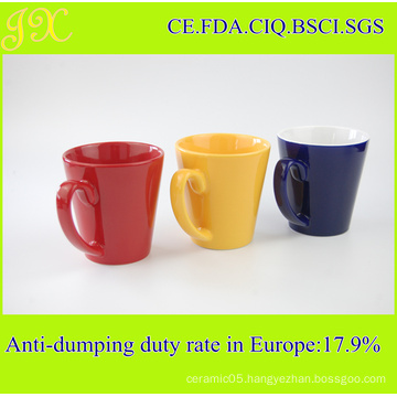Hot Sell 11oz V-Shape Ceramic Coffee Mug for Promotion