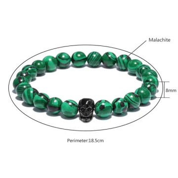 Guldpläterade Skull Head Charms Beaded Malachit Armband