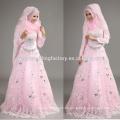 La nueva llegada 2015 rebordeó el vestido de boda musulmán de la manga larga del cordón rosado barato al por mayor appliqued con hijab CCWFw02