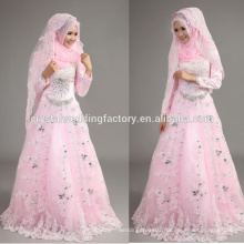 2015 new arrival beaded appliqued wholesale cheap pink lace long sleeve Muslim wedding dress with hijab CCWFw02