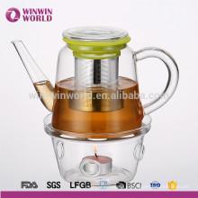 Juego de tetera de vidrio de vidrio borosilicato promocional Juego de regalo de tetera de vidrio té floreciente con calentador de té