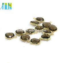 12 mm de gran cristal colgante de piedra diseño negro de diamantes forma cuadrada dorado encantos colgante CA001
