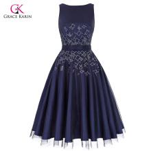 Grace Karin cuello de manga sin mangas V-trasero de tul de compensación + satinado Retro Vintage Flared A-Line Dress CL010468-1