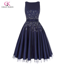 Grace Karin Sleeveless Crew Neck V-Back Tulle Netting+Satin Retro Vintage Flared A-Line Dress CL010468-1