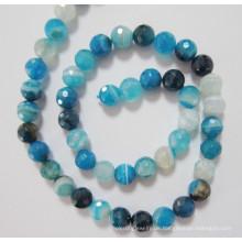 Blaue Achat Perlen, Edelstein, (BLUGT101)
