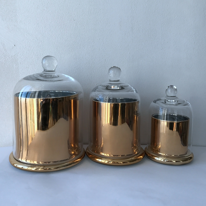 Gold glass candle jar