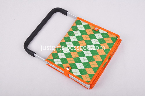 Custom Tweed Folding Shopping Basket - Single Handle (2)