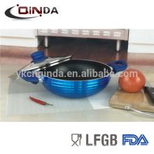 Metallica color azul y wok de recubrimiento antiadherente con tapa