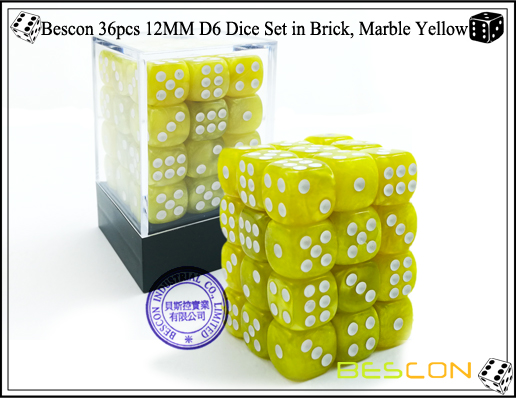 Bescon 36pcs 12MM D6 Dice Set in Brick, Marble Yellow-1
