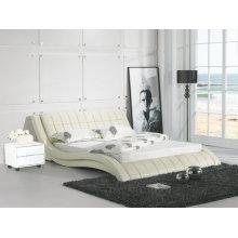 Кремового цвета кожаные кровати, современная мебель (9111)