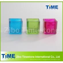 Bougeoir en verre coloré de forme carrée