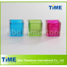Square Shape Colorful Glass Candle Holder