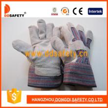 Guante de cuero con puño de goma con respaldo trasero de algodón completo (DLC215)